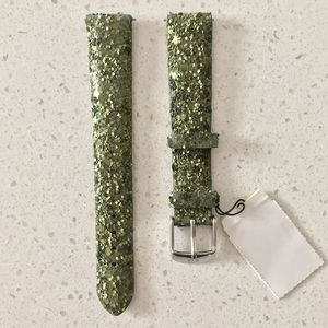 NWT Michelle 16 Leather Glitter Green Watch Band